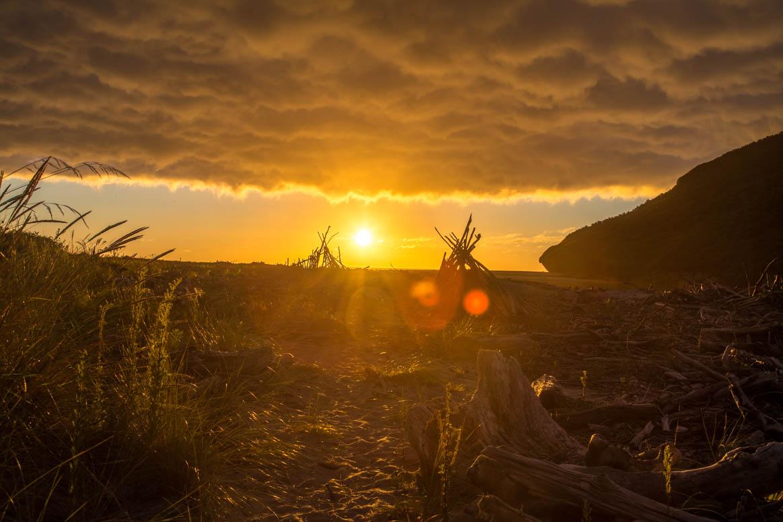 erster Sonnenuntergang an der Westküste