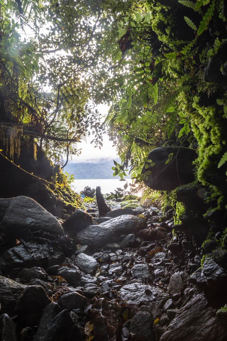 ausgeschwemmte Höhle am Mapourika See
