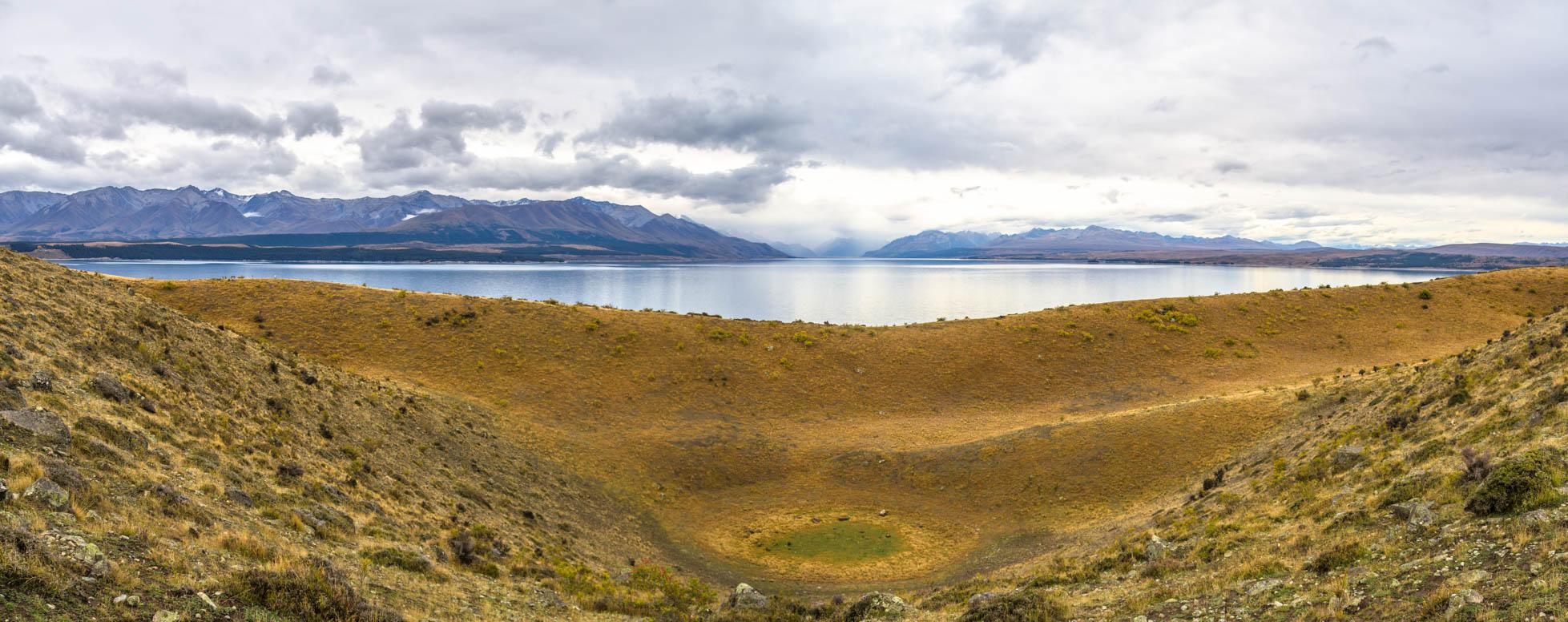 Die sichtbare Staumoräne war das ursprüngliche Ende des Gletschers, bevor der Pukaki See entstand.